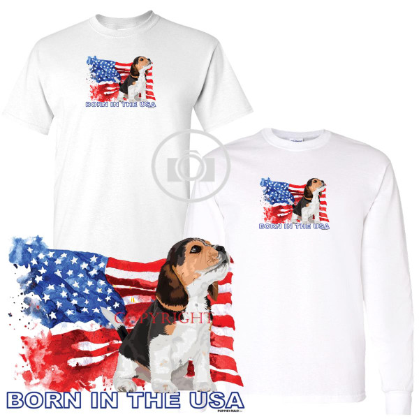 Beagle Puppies Rule! Born In The USA Flag Graphic Short / Long Sleeve White T Shirt (S-3X)