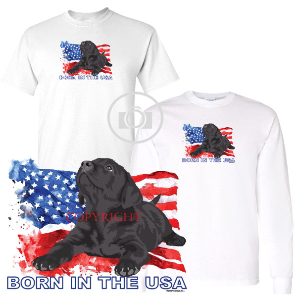 Black Labrador Lab Puppies Rule! Born In The USA Flag Graphic Short / Long Sleeve White T Shirt (S-3X)