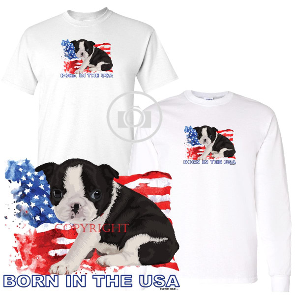 Boston Terrier Puppies Rule! Born In The USA Flag Graphic Short / Long Sleeve White T Shirt (S-3X)