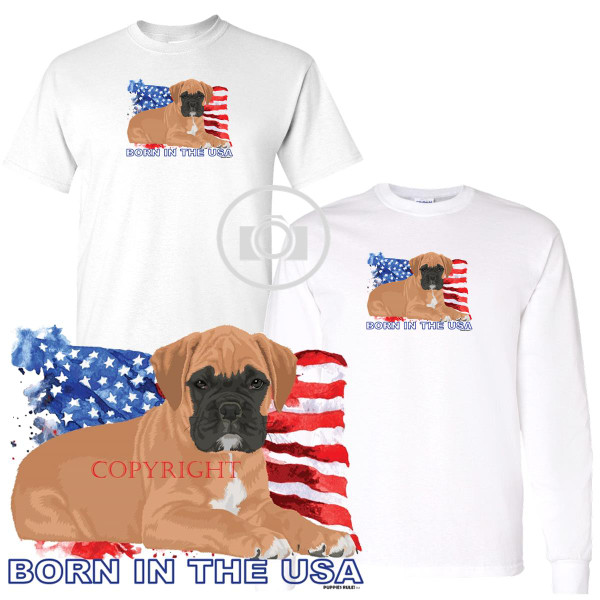 Boxer Puppies Rule! Born In The USA Flag Graphic Short / Long Sleeve White T Shirt (S-3X)