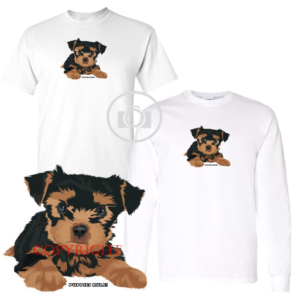 Yorkshire Terrier Puppies Rule! Just Plain Cute Graphic Short / Long Sleeve White T Shirt (S-3X)