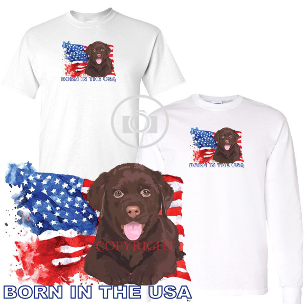 Chocolate Labrador Lab Puppies Rule! Born In The USA Flag Graphic Short / Long Sleeve White T Shirt (S-3X)