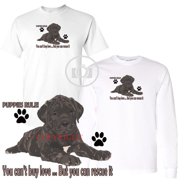 Bullmastiff Puppies Rule! Rescue Love Graphic Short / Long Sleeve White T Shirt (S-3X)