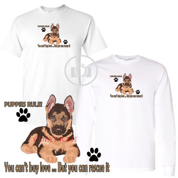 German Shepherd Puppies Rule! Rescue Love Graphic Short / Long Sleeve White T Shirt (S-3X)