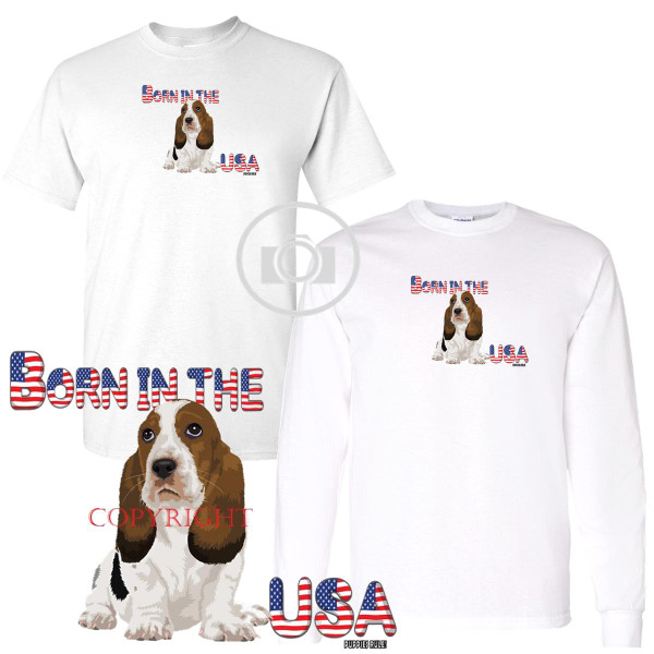 Basset Hound Puppies Rule! Born In The USA Letters Graphic Short / Long Sleeve White T Shirt (S-3X)