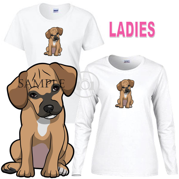 Puggle Breed Puppy Dog Looking Cute Graphic Art Ladies White T Shirt (S-3X)