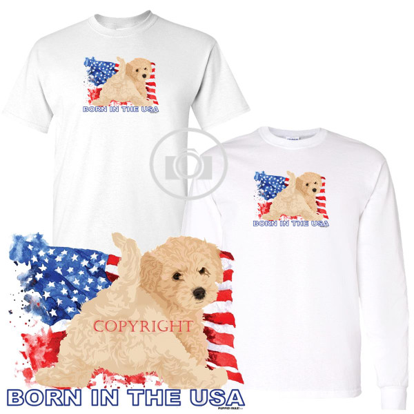 Cock A Poo Cockapoo Puppies Rule! Born In The USA Flag Graphic Short / Long Sleeve White T Shirt (S-3X)