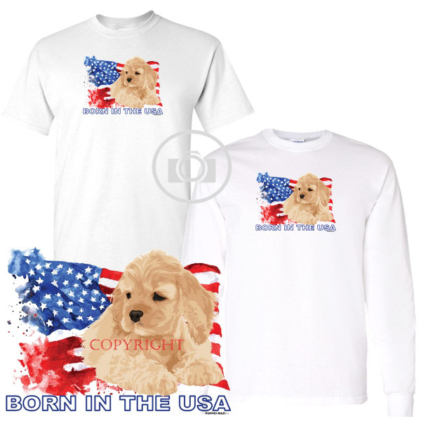 Cocker Spaniel Puppies Rule! Born In The USA Flag Graphic Short / Long Sleeve White T Shirt (S-3X)