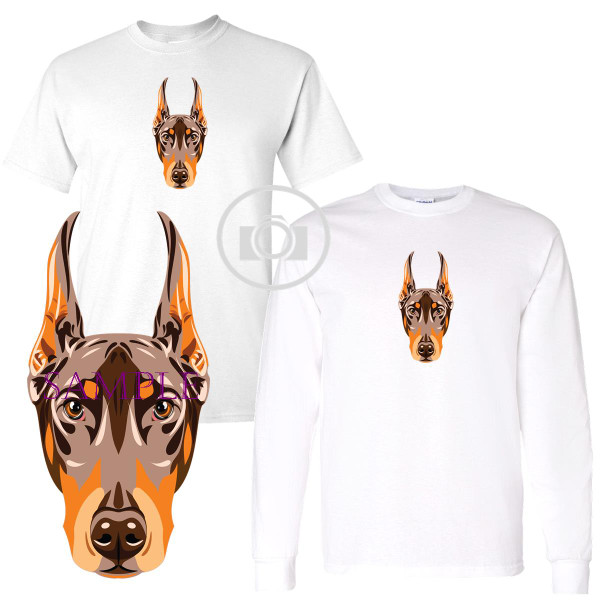 Doberman Pinscher Red Dog Breed Proud Profile Graphic White T Shirt (S-3X)