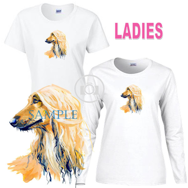 Afghan Hound Dog Profile Portrait Art Ladies Short / Long Sleeve Ladies White T Shirt (S-3X)