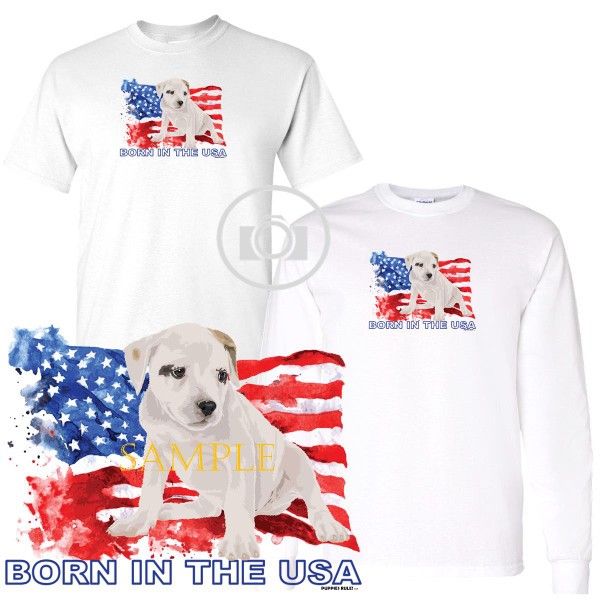 American Bulldog Puppies Rule! Born In The USA Flag Graphic Short / Long Sleeve White T Shirt (S-3X)