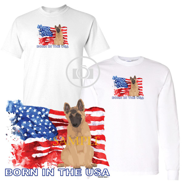 Belgian Tervuren Puppies Rule! Born In The USA Flag Graphic Short / Long Sleeve White T Shirt (S-3X)