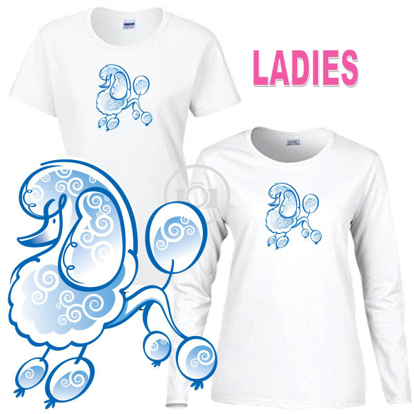 Poodle Dog Breed Blue Outine Sketch Graphic Ladies Short / Long Sleeve Ladies White T Shirt (S-3X)