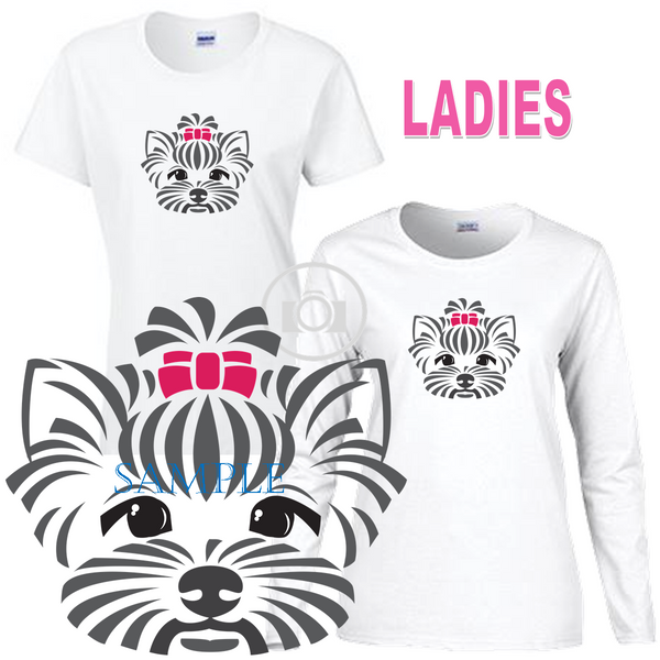Yorkshire Terrier Dog Head With Pink Bow Graphic Ladies Short / Long Sleeve Ladies White T Shirt (S-3X)