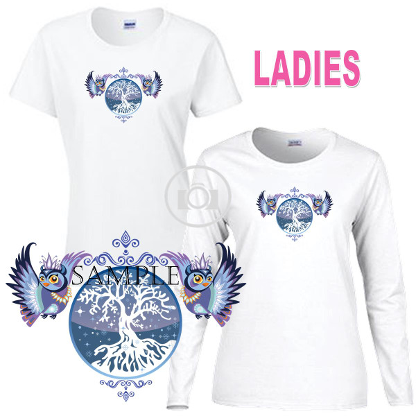 Owl Pair Artistic Winter Owls Portrait Graphic Ladies Short / Long Sleeve Ladies White T Shirt (S-3X)