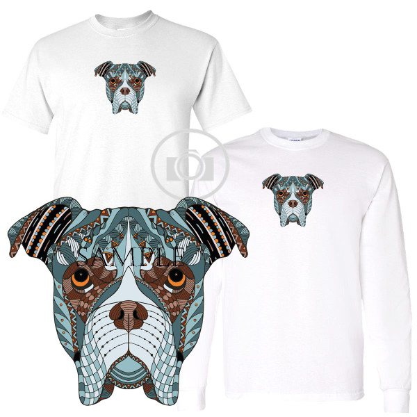 Boxer Zentangle Dog Character Breed Art Graphic White T Shirt (S-3X)