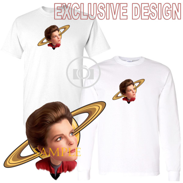 Captain Janeway Star Trek Voyager Caricature Graphic Art T Shirt (S-3X)