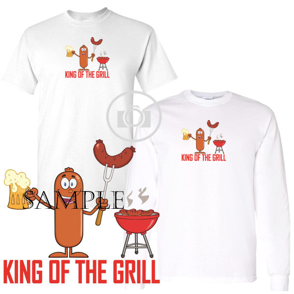King Of The Grill Hot Dog And Beer Cartoon Graphic White T Shirt (S-3X)