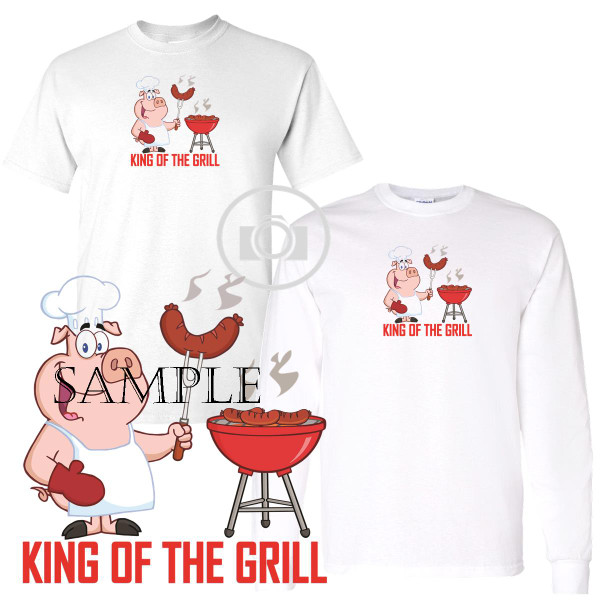 King Of The Grill Hot Dog Pig Cartoon Graphic White T Shirt (S-3X)