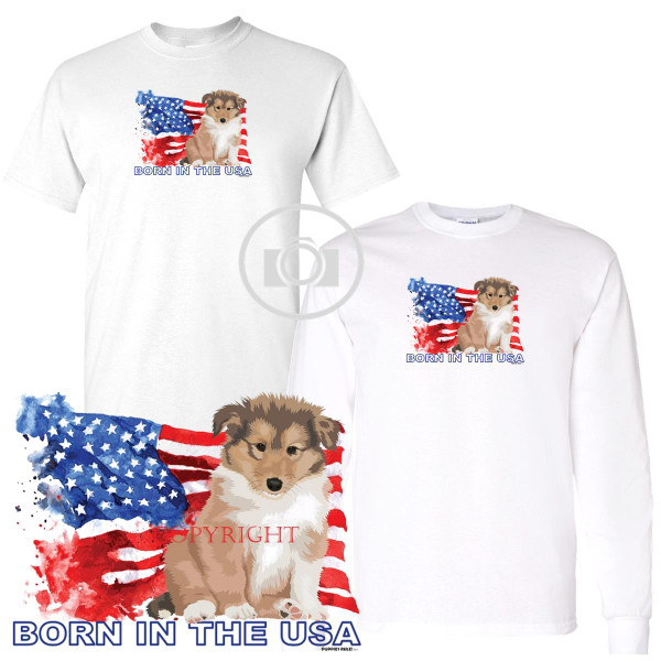Collie Puppies Rule! Born In The USA Flag Graphic Short / Long Sleeve White T Shirt (S-3X)