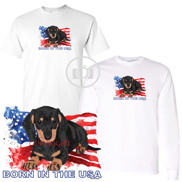 Dachshund Black & Tan Puppies Rule! Born In The USA Flag Graphic Short / Long Sleeve White T Shirt (S-3X)