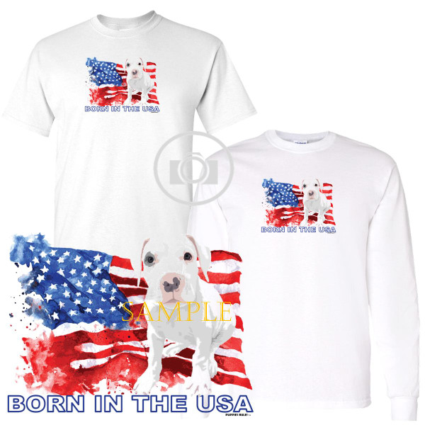 Dogo Argentino Puppies Rule! Born In The USA Flag Graphic Short / Long Sleeve White T Shirt (S-3X)