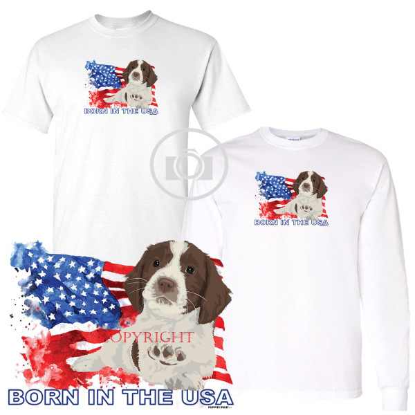 English Springer Spaniel Puppies Rule! Born In The USA Flag Graphic Short / Long Sleeve White T Shirt (S-3X)