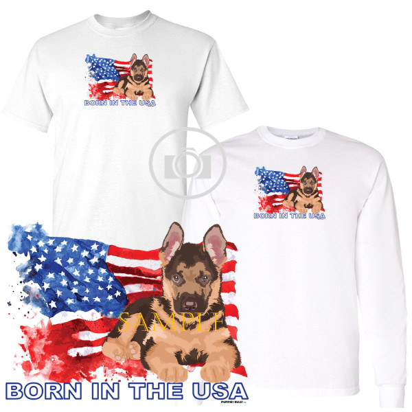 German Shepherd Puppies Rule! Born In The USA Flag Graphic Short / Long Sleeve White T Shirt (S-3X)