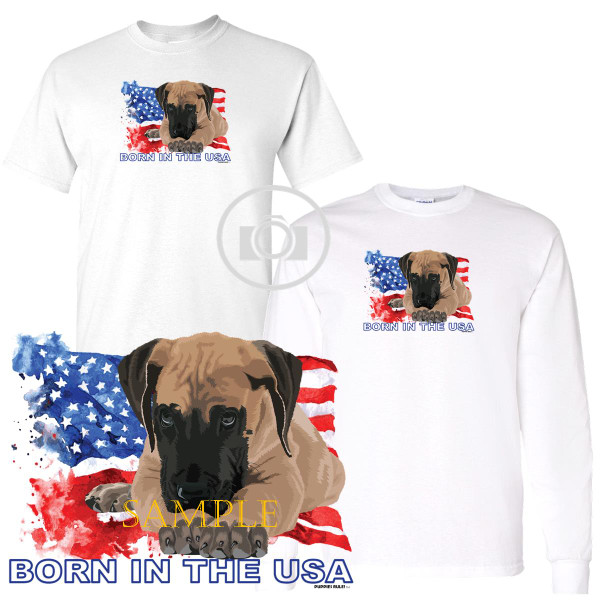 Great Dane #1 Puppies Rule! Born In The USA Flag Graphic Short / Long Sleeve White T Shirt (S-3X)