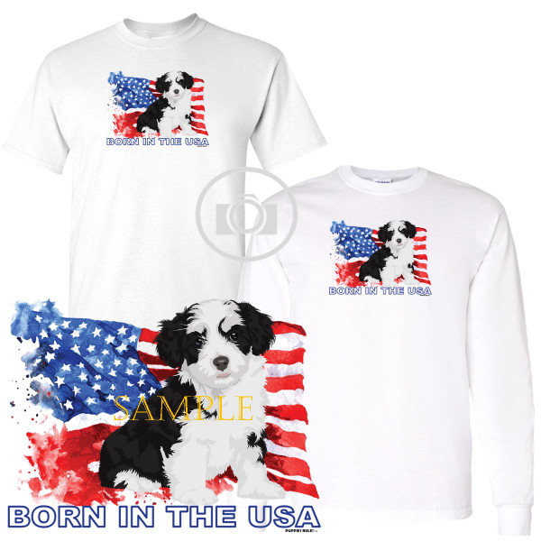 Havanese Puppies Rule! Born In The USA Flag Graphic Short / Long Sleeve White T Shirt (S-3X)