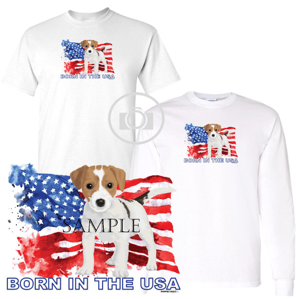 Jack Russell Terrier #1 Puppies Rule! Born In The USA Flag Graphic Short / Long Sleeve White T Shirt (S-3X)