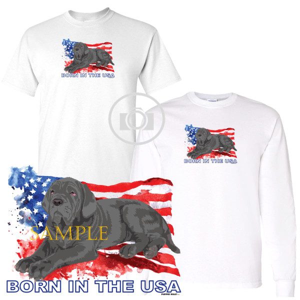 Neapolitan Mastiff Puppies Rule! Born In The USA Flag Graphic Short / Long Sleeve White T Shirt (S-3X)
