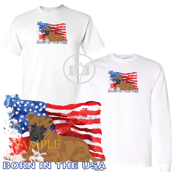 Pitbull Pit Bull #4 Puppies Rule! Born In The USA Flag Graphic Short / Long Sleeve White T Shirt (S-3X)