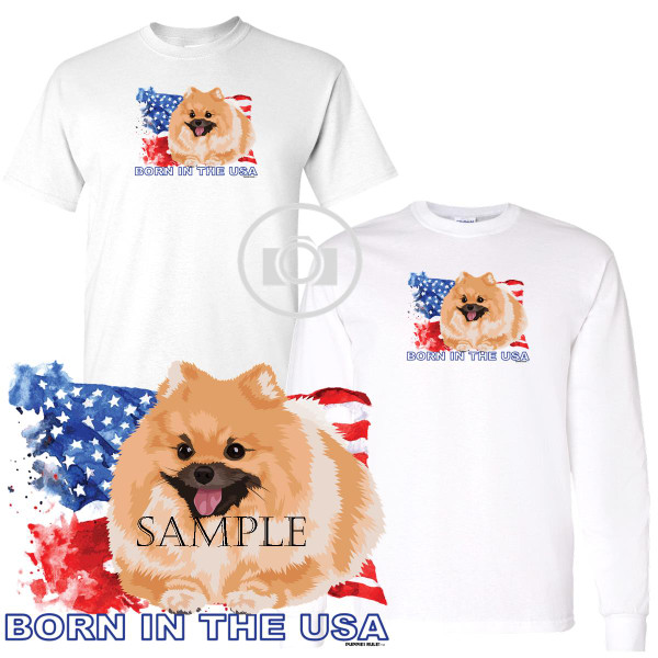 Pomeranian Puppies Rule! Born In The USA Flag Graphic Short / Long Sleeve White T Shirt (S-3X)