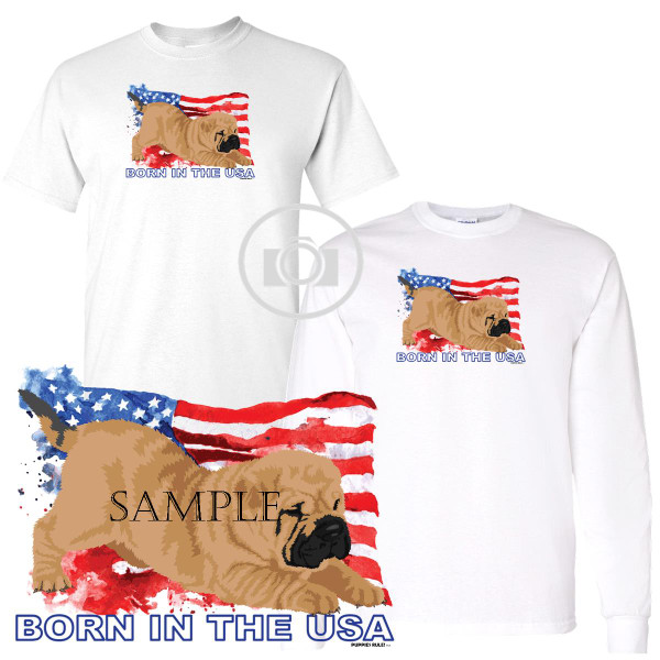 Shar Pei Puppies Rule! Born In The USA Flag Graphic Short / Long Sleeve White T Shirt (S-3X)