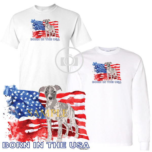 Whippet Puppies Rule! Born In The USA Flag Graphic Short / Long Sleeve White T Shirt (S-3X)