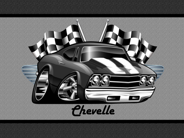 (CHE) Chevelle Black & White Winners Circle Racing Flags Classic Car Art Garage / Welcome Home Doormat  Door Mat Floor Rug
