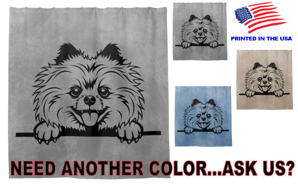Pomeranian Dog Breed Peeking Over Fabric Standard Bathroom Size Shower Curtain - 3 Colors