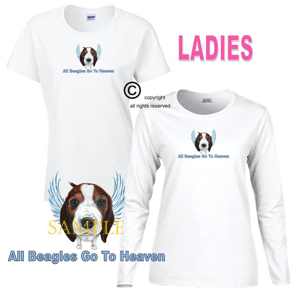 Beagle Angel All Dogs Go To Heaven Art By Weeze Ladies White T Shirt (S-3X)