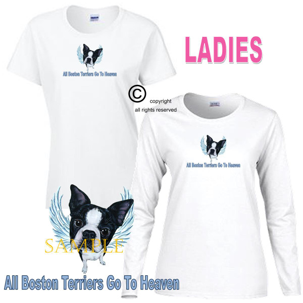 Boston Terrier Angel All Dogs Go To Heaven Art By Weeze Ladies White T Shirt (S-3X)