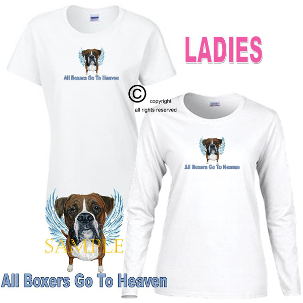 Boxer Angel All Dogs Go To Heaven Art By Weeze Ladies White T Shirt (S-3X)