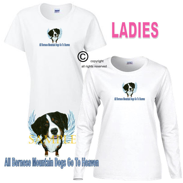 Bernese Mountain Dog Angel All Dogs Go To Heaven Art By Weeze Ladies White T Shirt (S-3X)