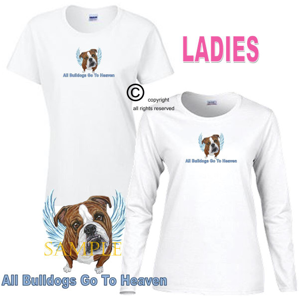 Bulldog Bull Dog Angel All Dogs Go To Heaven Art By Weeze Ladies White T Shirt (S-3X)