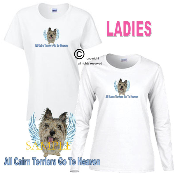 Cairn Terrier Angel All Dogs Go To Heaven Art By Weeze Ladies White T Shirt (S-3X)