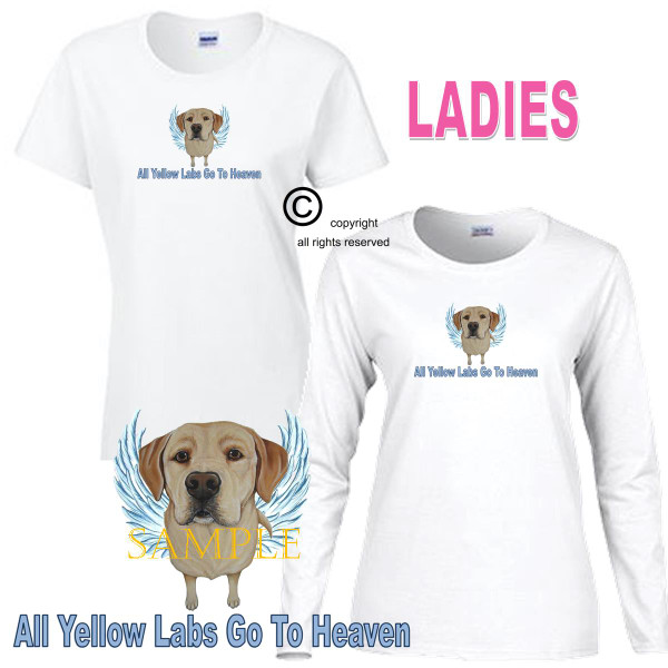 Yellow Labrador Lab Angel All Dogs Go To Heaven Art By Weeze Ladies White T Shirt (S-3X)
