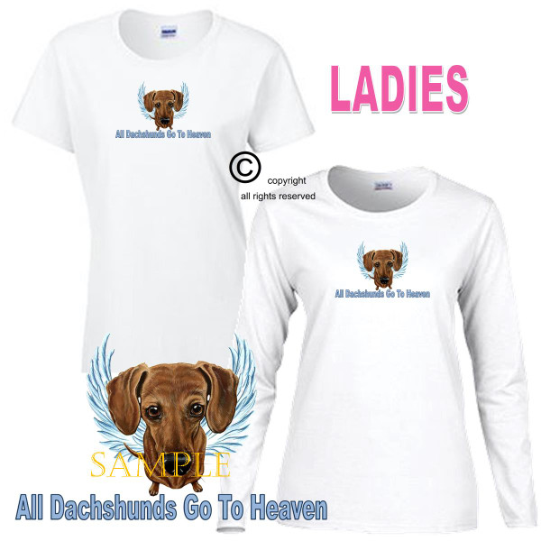 Dachshund Angel All Dogs Go To Heaven Art By Weeze Ladies White T Shirt (S-3X)