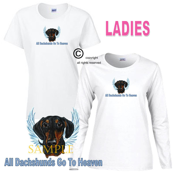 Dachshund Black & Tan Angel All Dogs Go To Heaven Art By Weeze Ladies White T Shirt (S-3X)