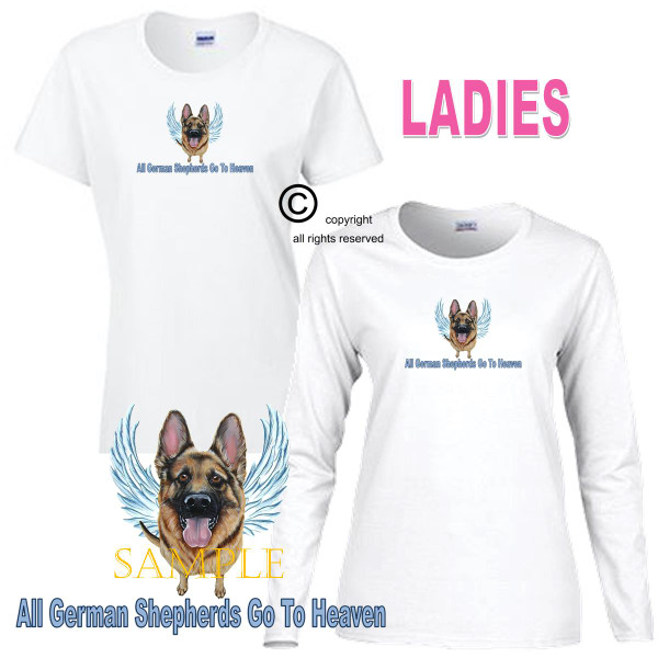 German Shepherd Angel All Dogs Go To Heaven Art By Weeze Ladies White T Shirt (S-3X)