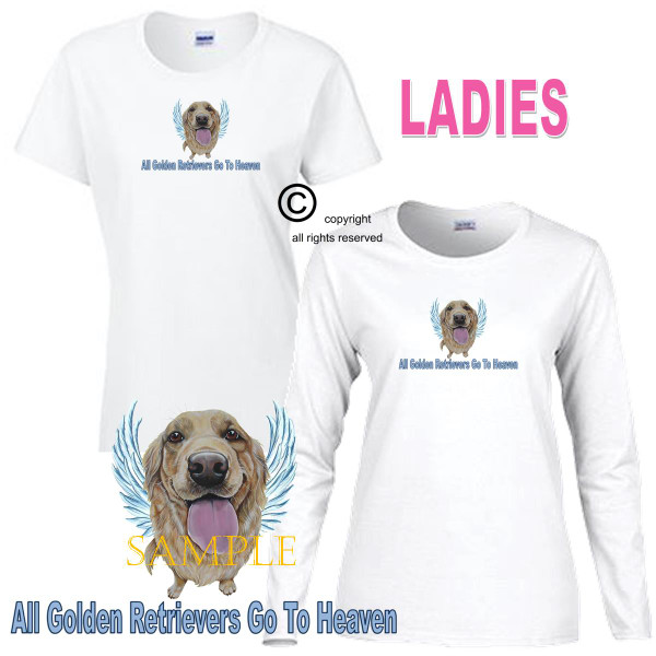 Golden Retriever Angel All Dogs Go To Heaven Art By Weeze Ladies White T Shirt (S-3X)