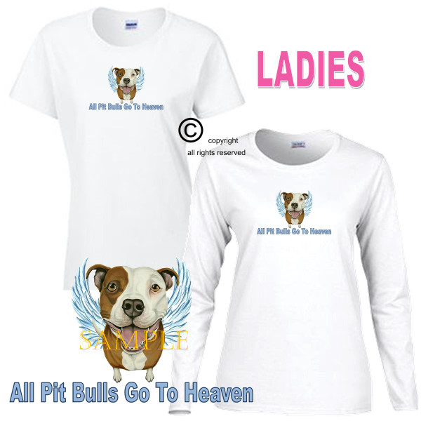 Pitbull Pit Bull Angel All Dogs Go To Heaven Art By Weeze Ladies White T Shirt (S-3X)